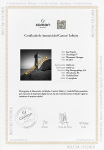 Certificado autenticidad Canson Infinity de GraficArtPrints © GraficArtPrints