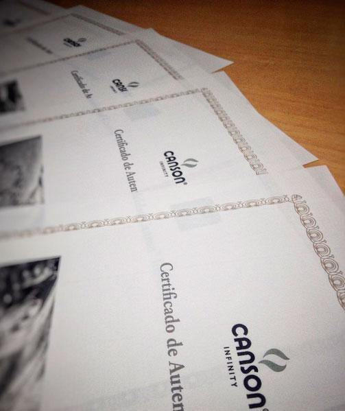 Certificados de autenticidad personalizados Canson Infinity emitidos por GraficArtPrints